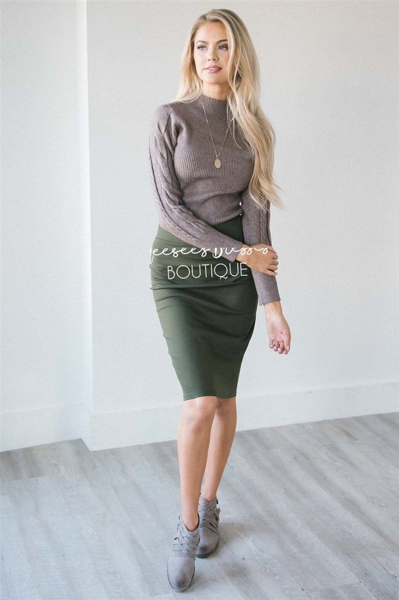 Perfect Fit Olive Pencil Skirt