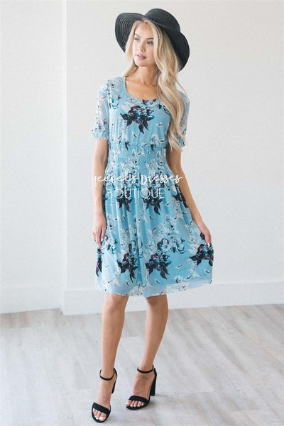 The Daphne Modest Dresses vendor-unknown Sky Blue Floral XS