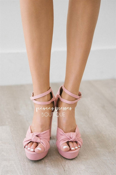 Pink Denim Knotted Strappy Heels Accessories & Shoes vendor-unknown