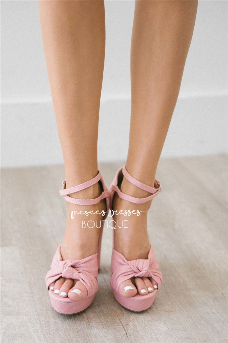 Pink Denim Knotted Strappy Heels
