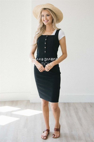 The Jeanna Overall Dress Modest Dresses vendor-unknown Black S