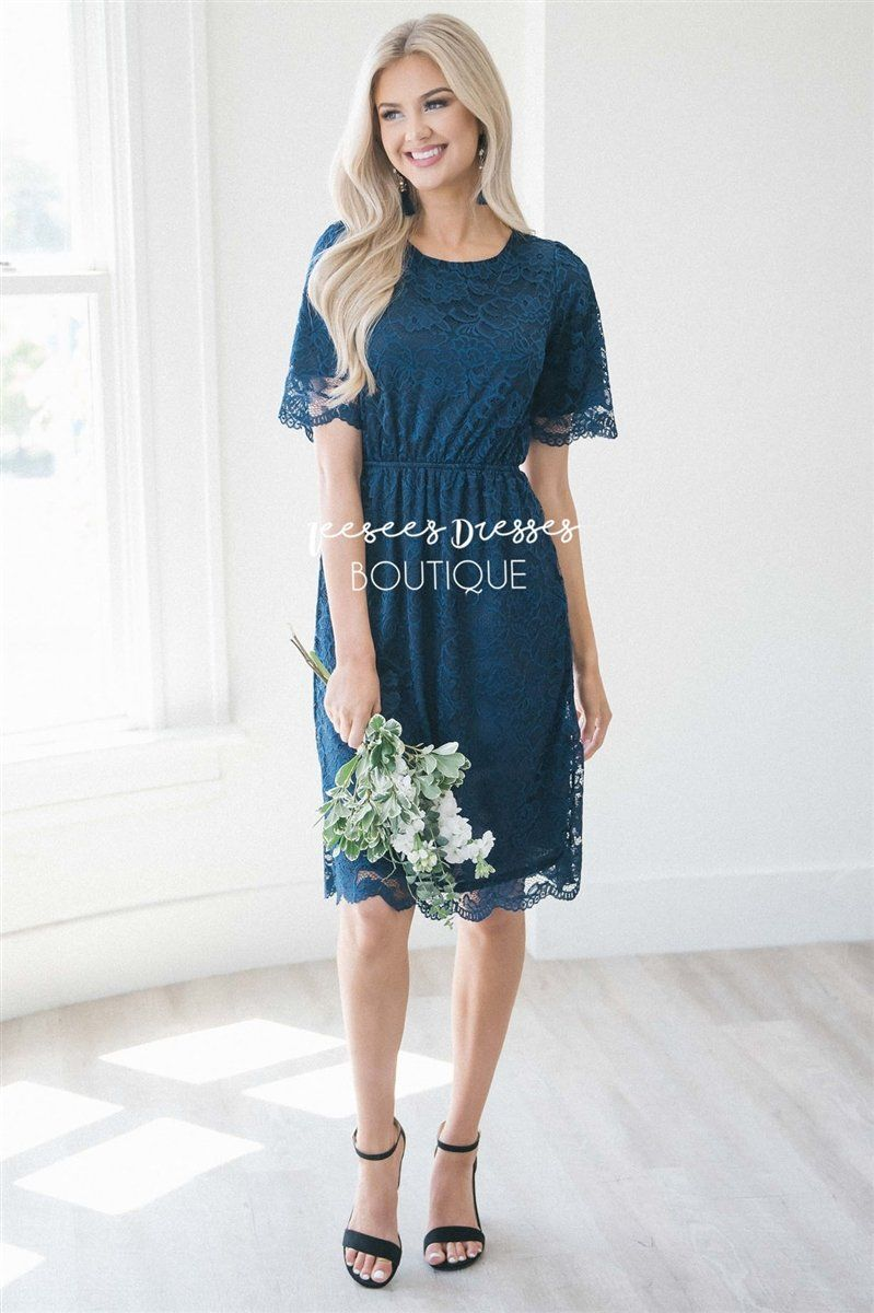 Navy Scallop Lace Dress