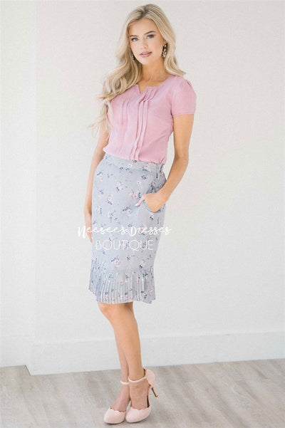 Dusty Lilac & Pink Pleated Hem Skirt Skirts vendor-unknown