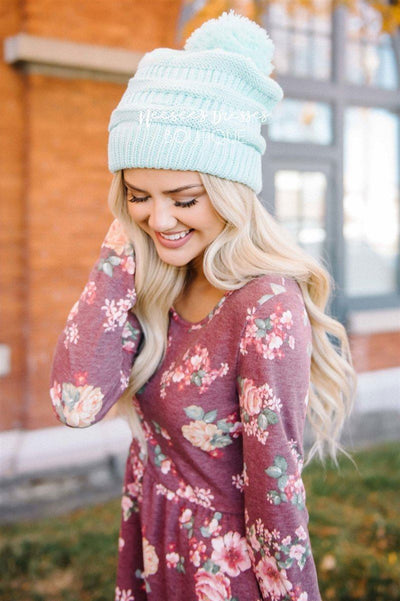 Mint Pom-Pom Knit Beanie Accessories & Shoes Leto Accessories Mint Pom-Pom Knit Beanie - Mint - One Size