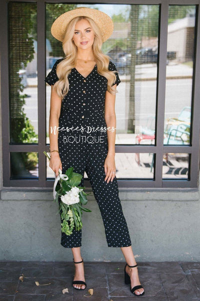 The Mimi Polka Dot Jumpsuit Modest Dresses vendor-unknown