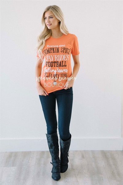 Dreaming About Fall Top Tops vendor-unknown Pumpkin XS