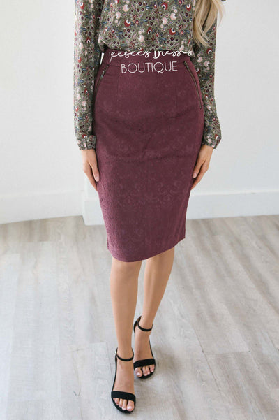 Damask Zipper Detail Pencil Skirt Skirts vendor-unknown