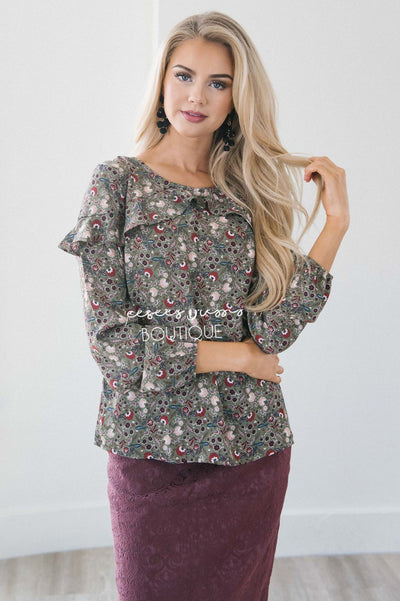 Fall Floral Long Sleeve Ruffle Blouse