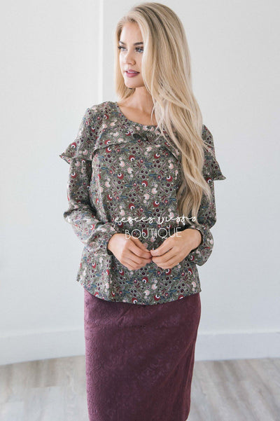Fall Floral Long Sleeve Ruffle Blouse Modest Dresses vendor-unknown