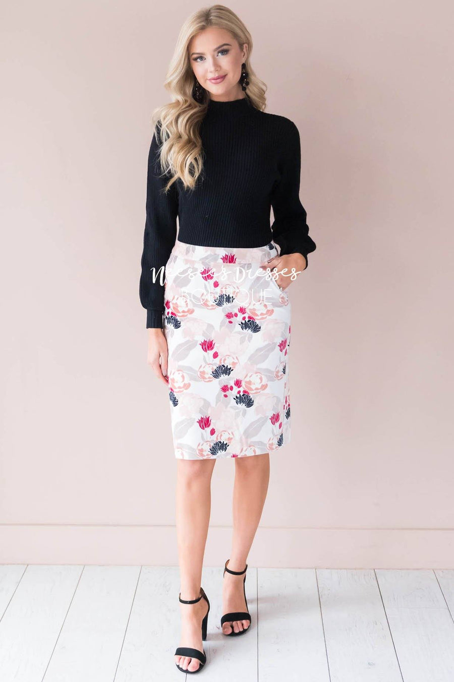 Blooming Beauty Velveteen Pencil Skirt
