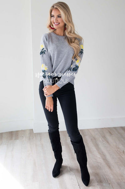 Can't Miss Me Floral Sleeve Sweater Tops vendor-unknown