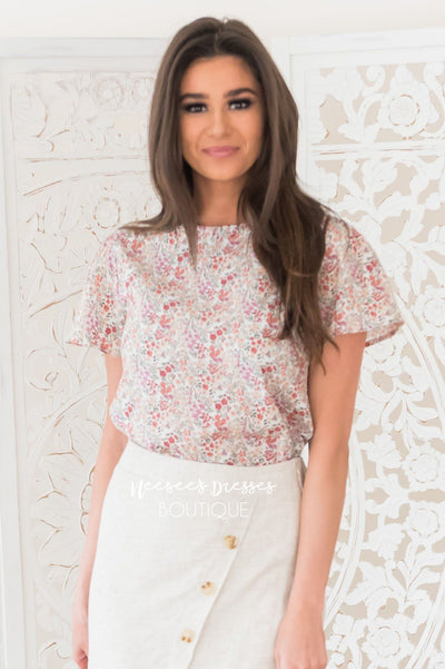 Daisy Garden Modest Floral Blouse Tops vendor-unknown