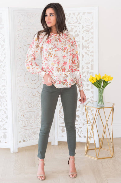 Sunrise Floral Modest Blouse Tops vendor-unknown