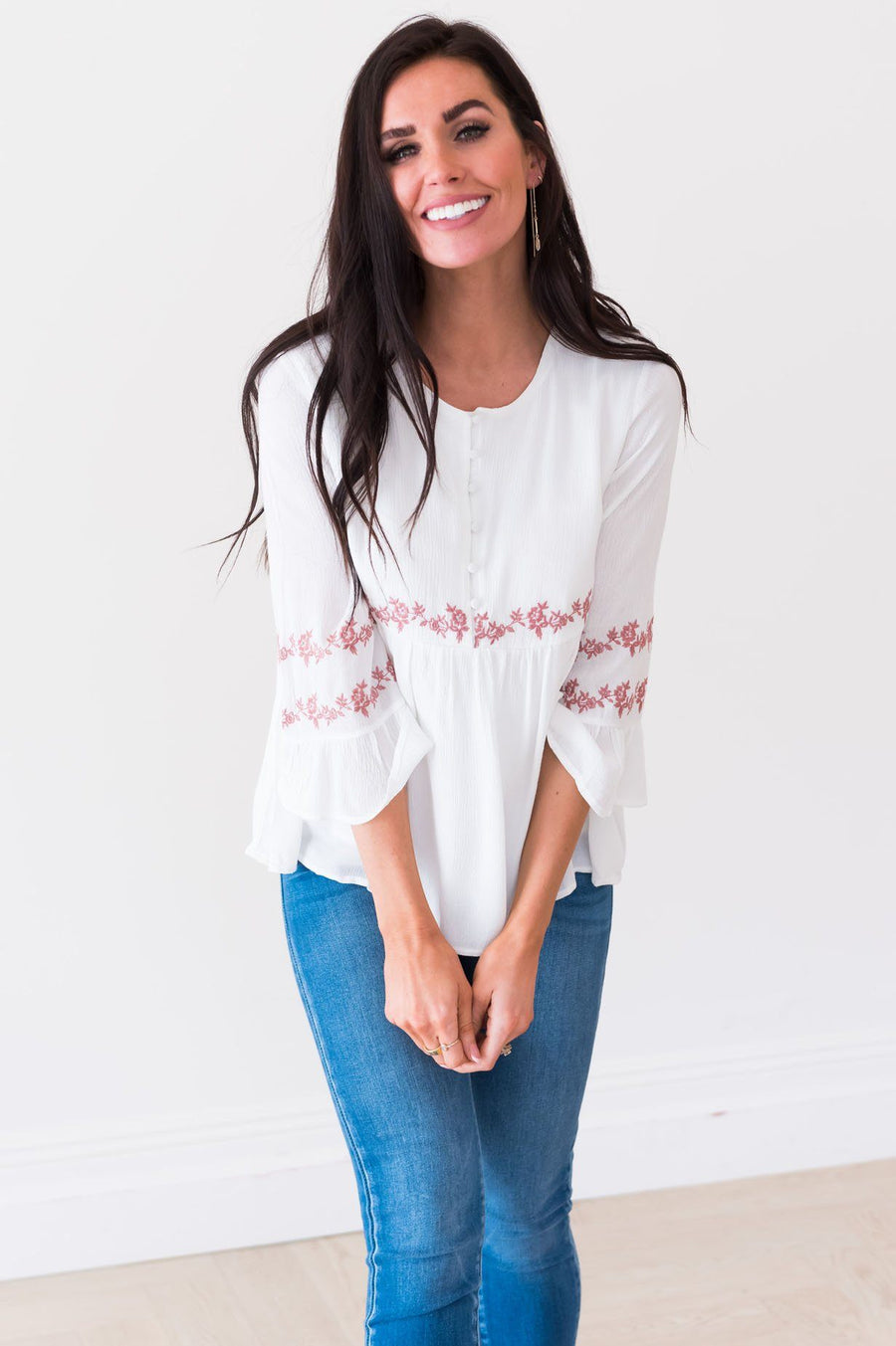 Ivory Flounce Embroidered Blouse