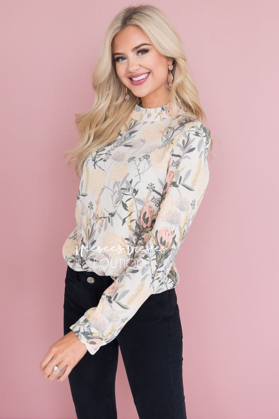 Flower Garden Modest Blouse Tops vendor-unknown