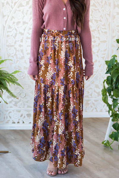 Flower Medley Tier Maxi Skirt Modest Dresses vendor-unknown