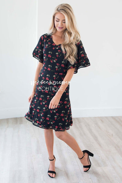 The Janessa Flutter Sleeve Floral Dress
