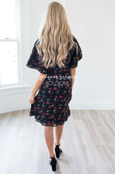 The Janessa Flutter Sleeve Floral Dress Modest Dresses vendor-unknown