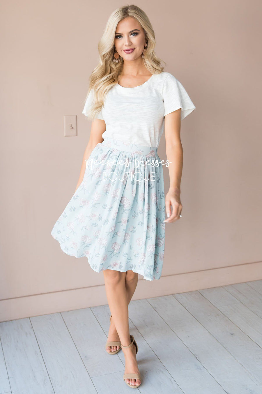 Pastel Blue Floral Chiffon Skirt Skirts vendor-unknown