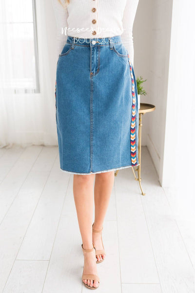 Follow Your Arrow Denim Skirt Modest Dresses vendor-unknown