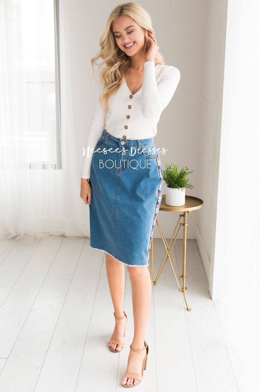 Follow Your Arrow Denim Skirt