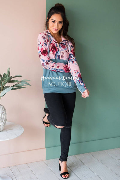Fun and Fabulous Floral Hoodie Modest Dresses vendor-unknown
