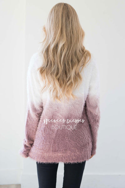 Dip-Dye Fuzzy Sweater Tops vendor-unknown