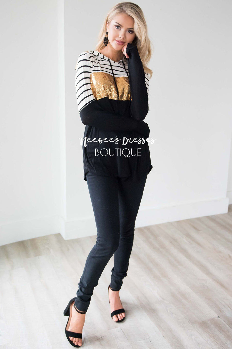 Striped Sequin Color Block Hoodie