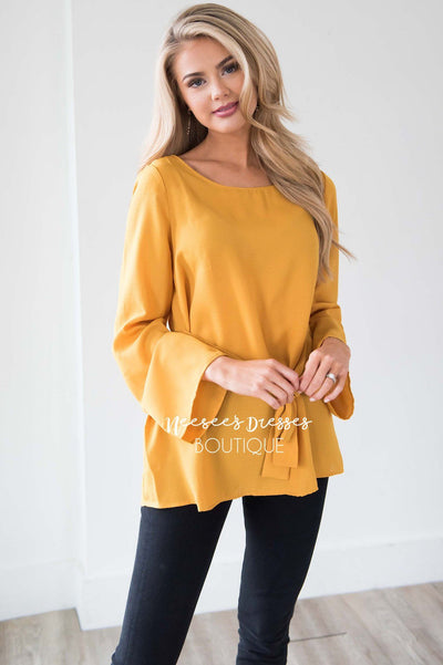 Bell Sleeve Tie Waist Blouse Tops vendor-unknown