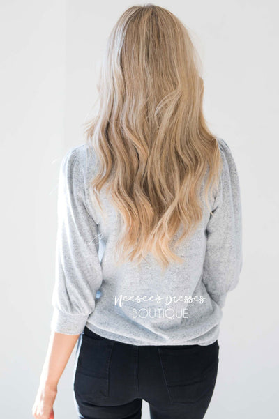 Soft Light Gray Puff Sleeve Sweater