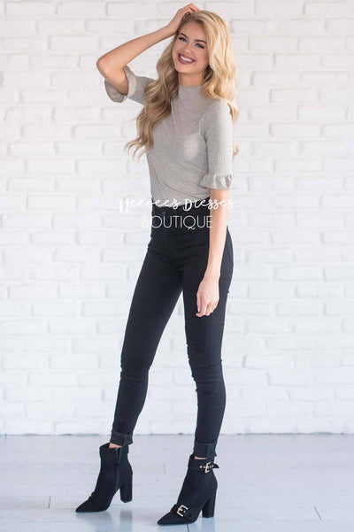 Ribbed High Neck Bell Sleeve Top Tops vendor-unknown