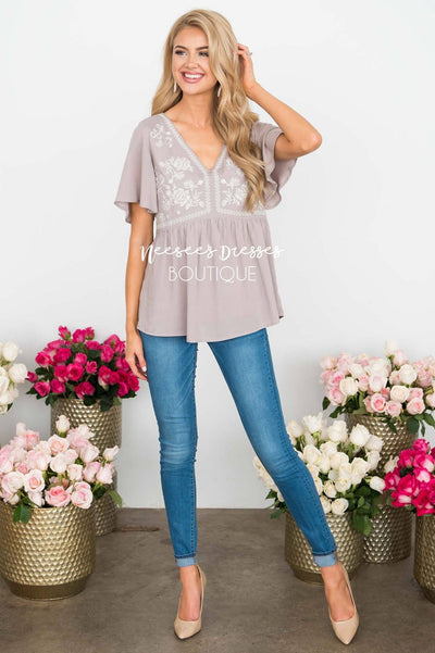 Delicate Embroidered Babydoll Blouse Tops vendor-unknown