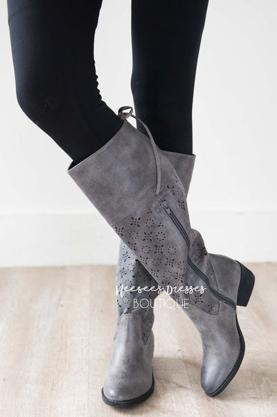 Hermosa Eyelet Cutout Boots Accessories & Shoes vendor-unknown