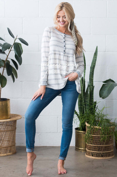 Casual Striped Button Front Top Tops vendor-unknown