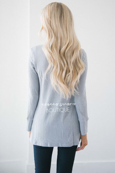 Gray Thermal Lace Insert Top Tops vendor-unknown