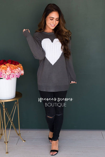 Heart Strings Sweater Modest Dresses vendor-unknown