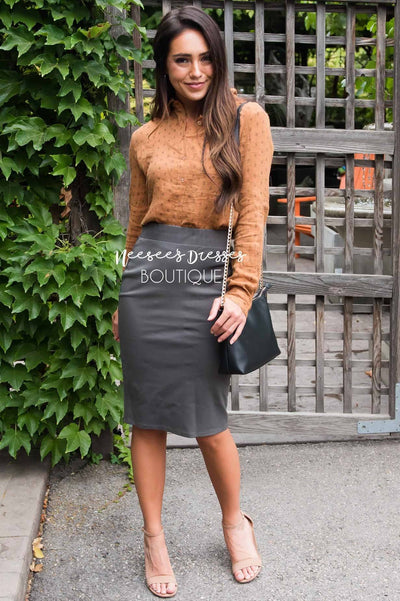 Perfect Fit Grey Sage Pencil Skirt Skirts vendor-unknown