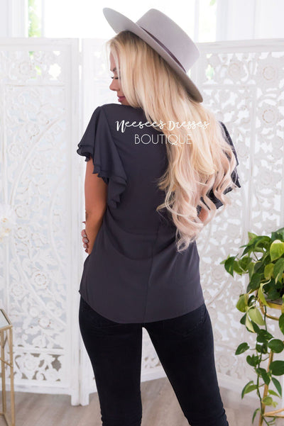Class Act Modest Flutter Blouse Tops vendor-unknown