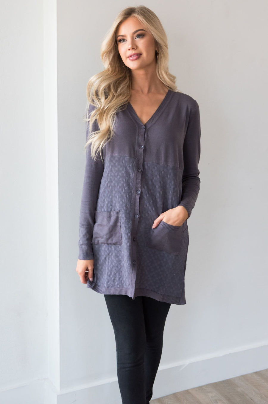 Grey Skies Ahead Modest Cardigan