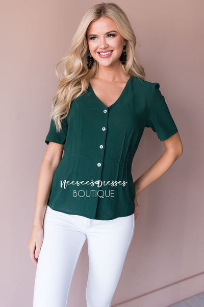 Classic Peplum Modest Blouse Tops vendor-unknown