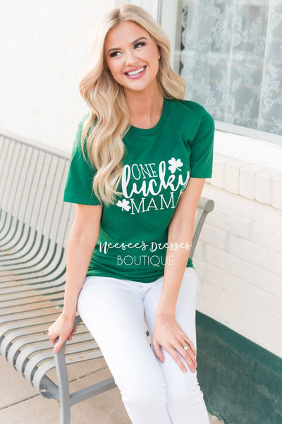 One Lucky Mama Modest Tee Tops vendor-unknown