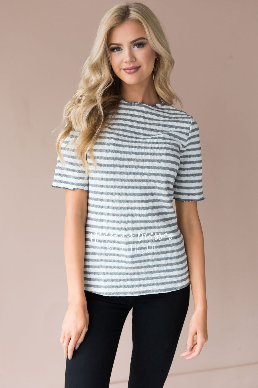 Winning with Stripes Textured Top