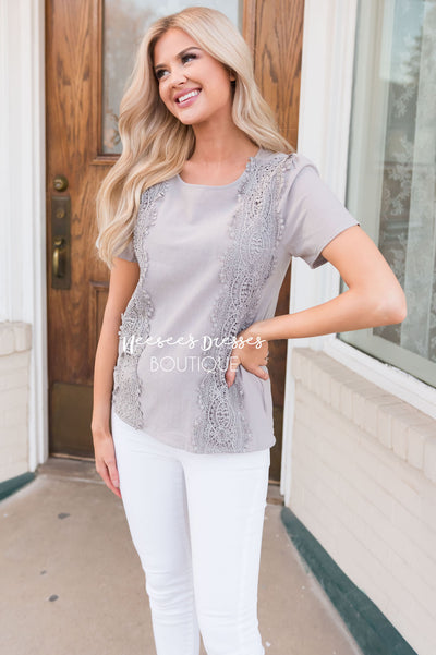 Darling Crochet Detail Modest Blouse