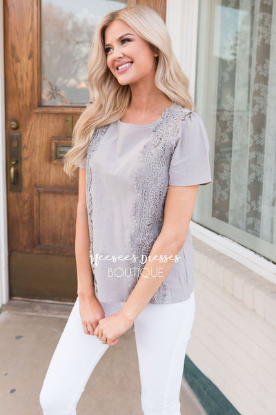 Darling Crochet Detail Modest Blouse Tops vendor-unknown