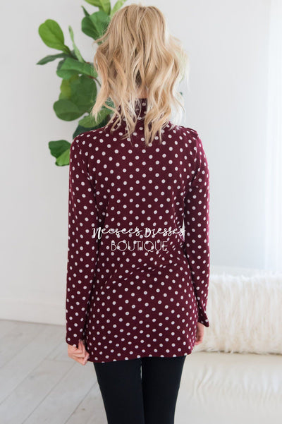 Happy Times Polka Dot Sweater Modest Dresses vendor-unknown