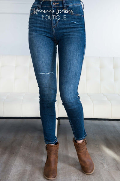 High Rise Medium Dark Wash Skinny Jean Tops vendor-unknown
