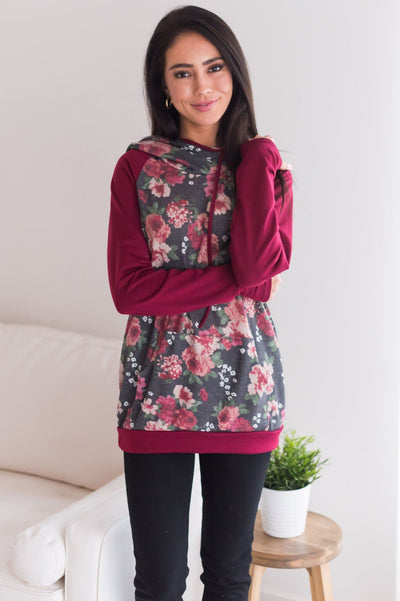 Feeling Floral Modest Hoodie Modest Dresses vendor-unknown