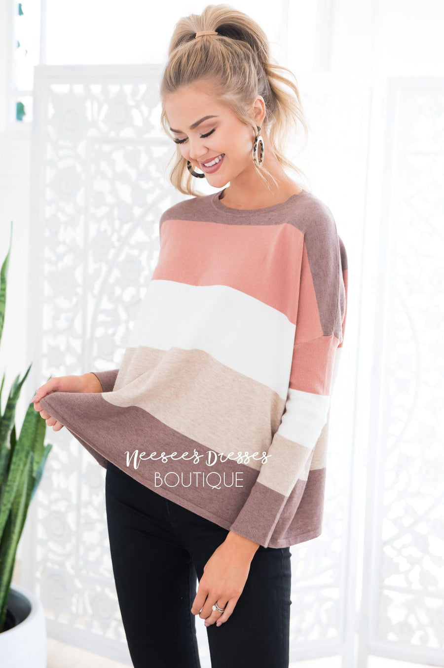 Hot Cocoa and Cream Block Sweater Modest Dresses vendor-unknown