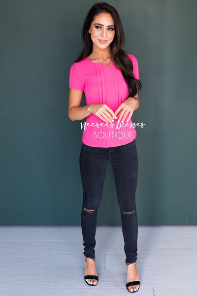 Hot Pink Chiffon Top Tops vendor-unknown