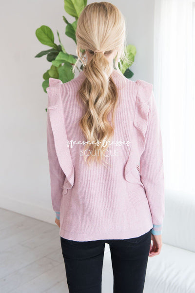 It's All About The Ruffles Sweater Modest Dresses vendor-unknown
